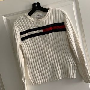 Tommy Hillfiger Vintage white Ribbed Sweater L